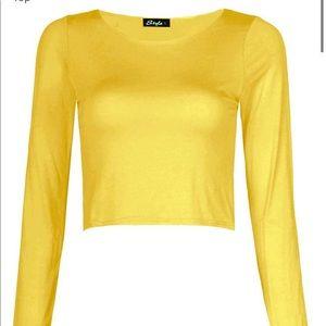 NWT-Women's stylish plain long sleeve crop top